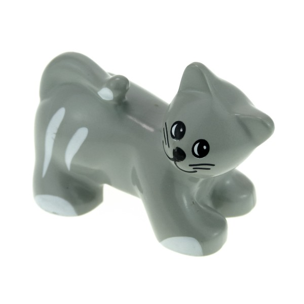 1 x Lego Duplo Tier Katze alt-hell grau weiß Kater Bauernhof Zoo Zirkus 31102pb01
