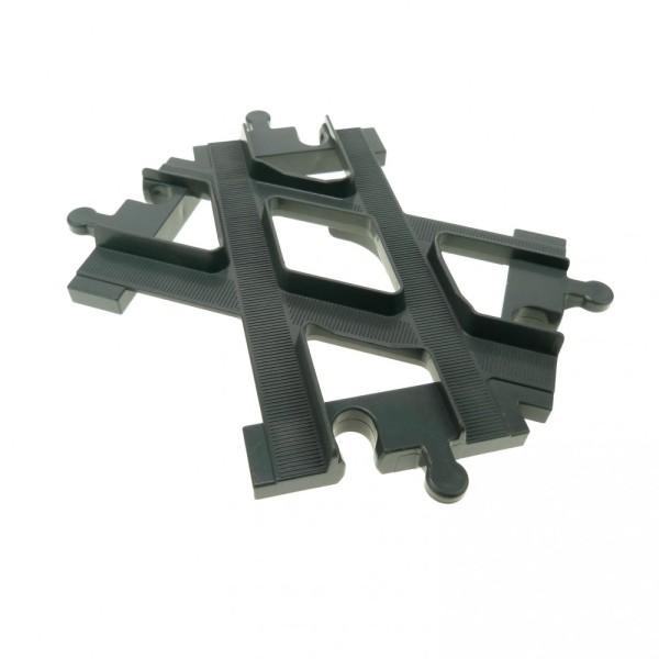 1 x Lego Duplo Schiene Weiche Kreuzung neu-dunkel grau Eisenbahn Kreuz Gabelung 6376