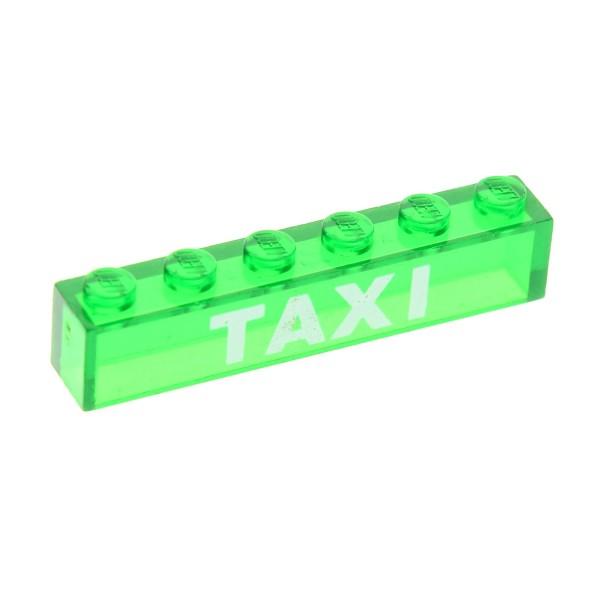 1 x Lego System Glas Stein bedruckt transparent grün weiss 1 x 6 `TAXI ´ City Glasstein Set 970 816 3067pb07