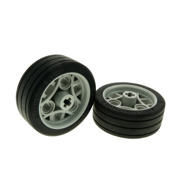 2 x Lego Technic Rad Räder schwarz alt-hell grau 36.8x14 ZR Felge schwarzer Gummireifen aufgeklebt Technik Auto Fahrzeug Set 8357 8354 8645 4270685 44293c01