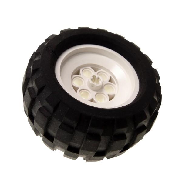 1 x Lego Technic Rad Weiss schwarz 68.8 x 40 Q Racing Technik Felge Ballon Reifen Räder Auto Fahrzeug 2995 Set 5561 8437 8858 2996c01