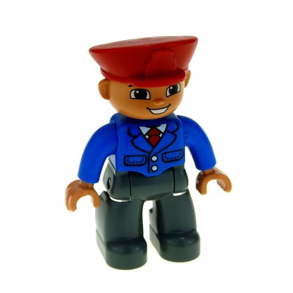 1 x Lego Duplo Figur Mann Hose neu-dunkel grau Jacke blau Mütze Hut rot Krawatte rot Uniform Bus Fahrer Reisebegleiter Eisenbahn Zug Schaffner 47394pb165