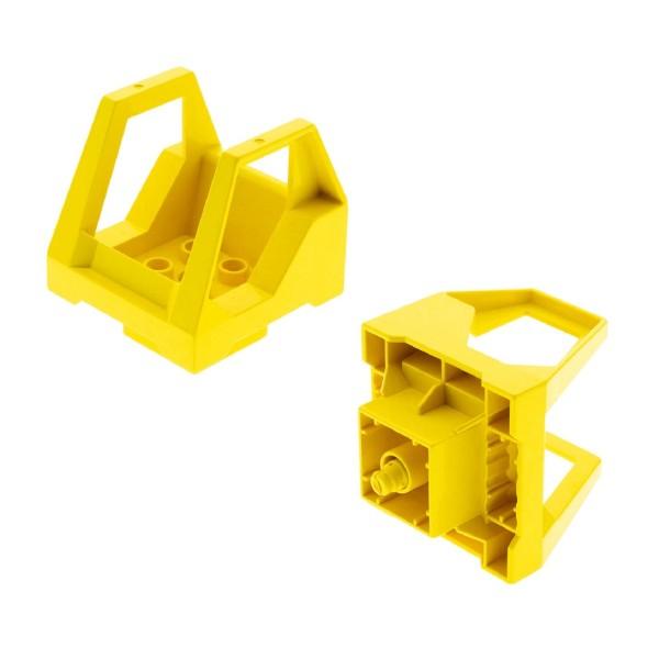 2x Lego Toolo Duplo Kabine gelb Kanzel Cockpit Fahrzeug Aufsatz Set 9121 6293