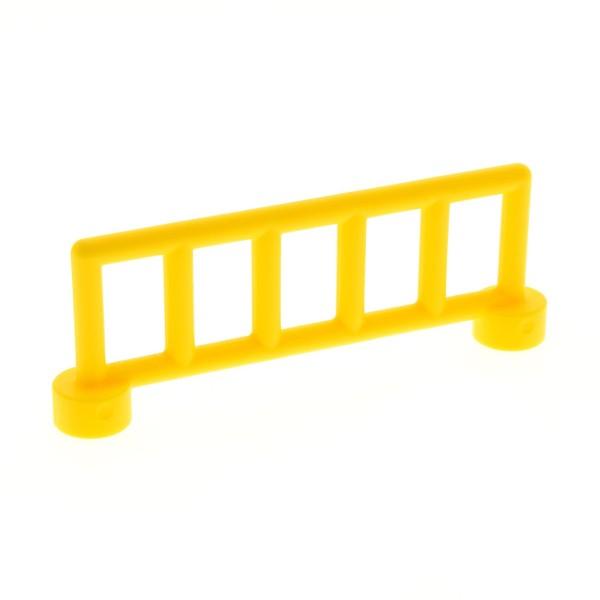 1 x Lego Duplo Zaun gelb mit 6 Pfosten Gatter Gitter Geländer Absperrung Fence für Bauernhof Eisenbahn 12602