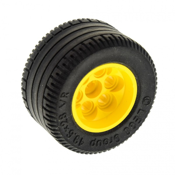 1 x Lego Technic Rad Reifen schwarz 49.6x28 VR Felge gelb Räder Technik Auto Fahrzeug (6595 / 6594) 6595c02
