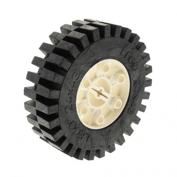 1 x Lego Technic Rad Reifen schwarz 24 x 43 Racing Felge weiss 24x43 Technik Auto Fahrzeug ( 3739 / 3740 ) 3739c01