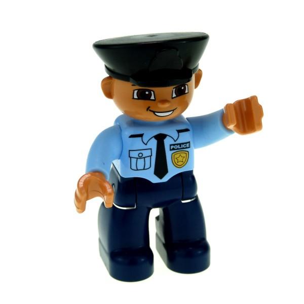 LEGO Duplo Polizist Mann blau schwarz Mütze Kappe Abzeichen Marke Figur