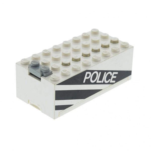 1 x Lego System Electric Batteriekasten weiss schwarz mit Police Aufdruck Batterie Block Technic 9V geprüft 4761 4760c01pb01