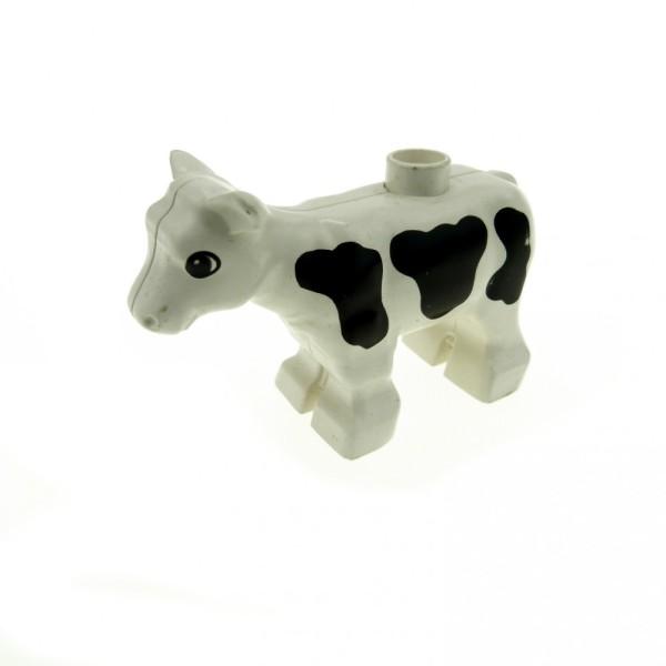 1 x Lego Duplo Kalb klein weiß schwarz gescheckt Bauernhof kleine Kuh Zoo Tier Zirkus 75721 6679pb01