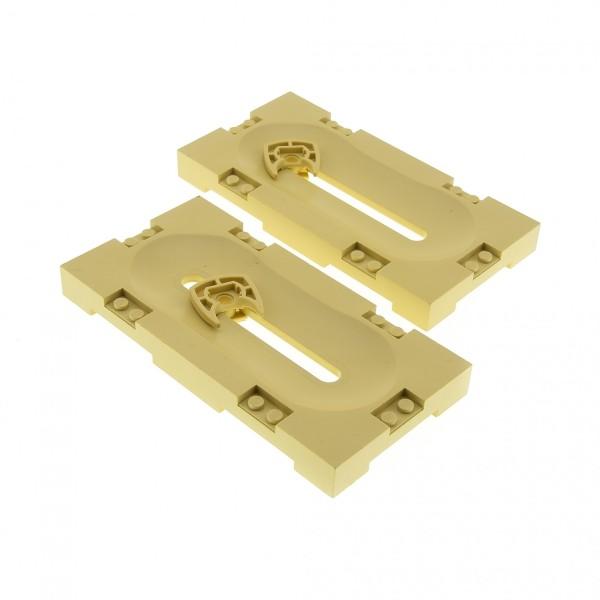 2 x Lego System Spielfeld beige tan 8 x 16 Basketball Platte mit Quer Schlitz und Schiebe Halter Sports Field 41819c01