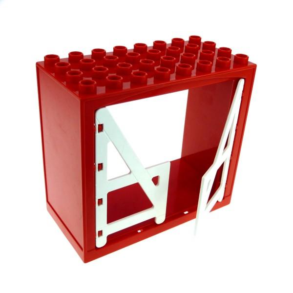 1 x Lego Duplo Gebäude Scheune rot weiss 4x8x6 schmal Haus Tür Tor Gatter Puppenhaus Bauernhof Farm 2294 6432