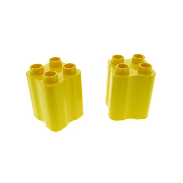 2 x Lego Duplo Bau Stein gelb 2x2x2 Seite gewölbt Baum Stamm Stumpf Tier Beine 31061