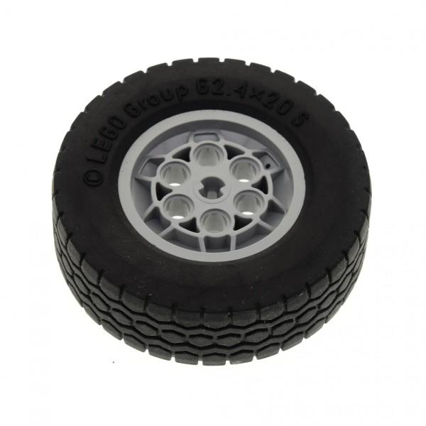 1 x Lego Technic Auto Fahrzeug Rad schwarz 62.4x20 Räder Felge neu-hell grau 62.4 x 20 S Technik Set 8421 8285 8436 32020 32019 4107807 4496707 32020c01