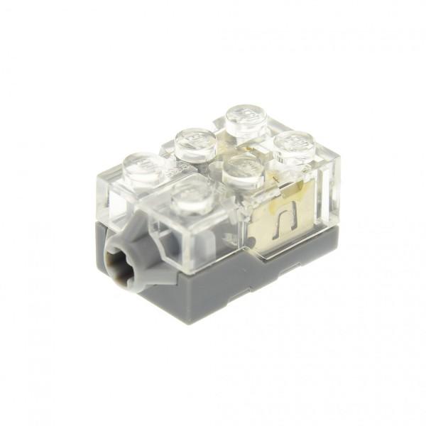 1 x Lego System Electric Licht Stein transparent weiss 2x3x1 Druck Taster Base neu-dunkel grau LED Lampe gelb (leuchtet orange) geprüft 4526177 54930c02