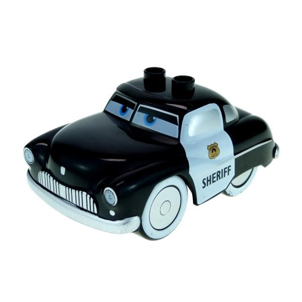 1x Lego Duplo Auto Disney Pixar Cars Sheriff B-Ware abgenutzt schwarz crs054
