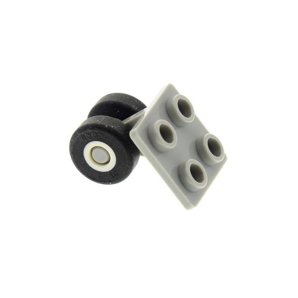 1 x Lego System Rad Achse alt-hell grau Platte 2x2 mit 2 weiss Band Räder für Space Shuttle Flugzeug 6456 6544 6339 6230 bb164c01
