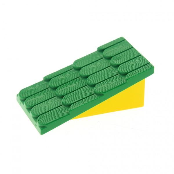 1 x Lego System Fabuland Dach grün Wand gelb ohne Schornstein Loch schräg Dachstein Haus 787c02