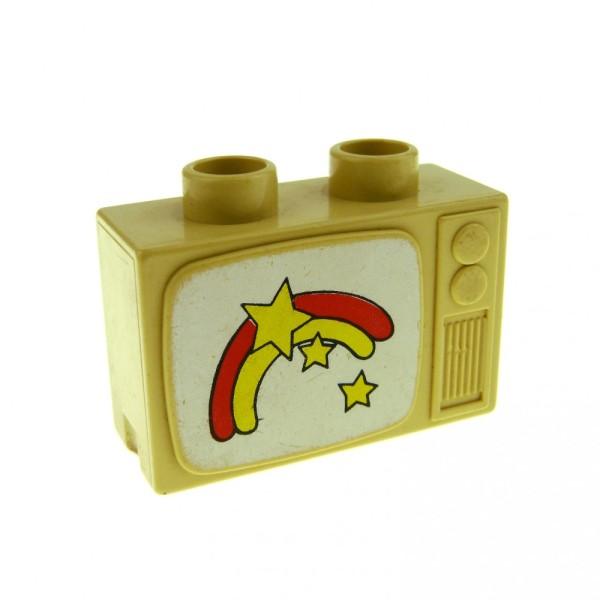 1 x Lego Duplo Möbel Fernseher beige tan 1 x 2.5 x 1.3 mit Regenbogen und Sternen Puppenhaus TV 4916pb01