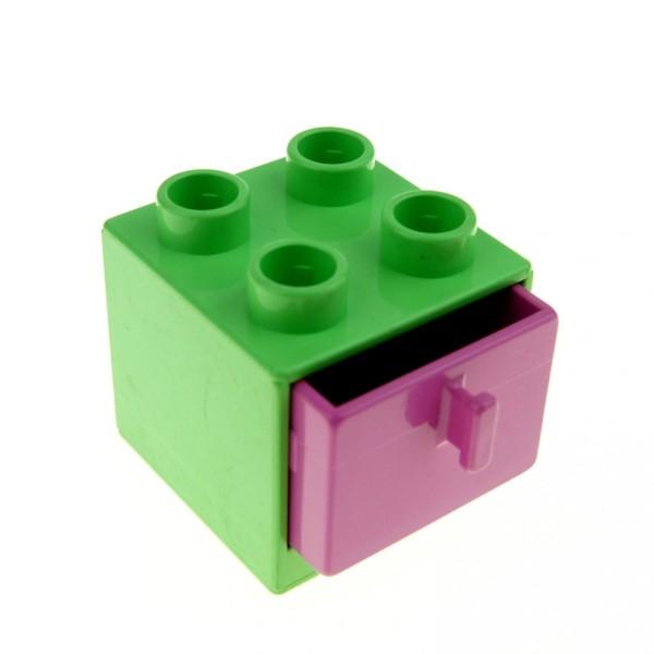 1 x Lego Duplo Möbel Schrank hell grün 2x2x1.5 Schublade rosa pink 2x2 Puppenhaus Bad Schlaf- Wohn - Zimmer Kommode 4890 4891
