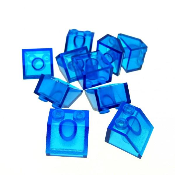 10 x Lego System Glas Dach Stein transparent dunkel blau 45° 2x2 Dachziegel schräg Steine elves friends minecraft Glasstein 3039