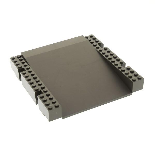 1 x Lego System Bau Platte alt-dunkel grau 16x16 x 2 Bahnsteig Bahnhof Rampe Plattform Hafen Kante für Set 6479 4513 4560 4561 4556 2642