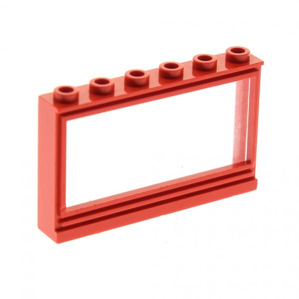 1 x Lego System Fenster Rahmen rot 1x6x3 Panorama mit Scheibe transparent weiss Haus Window (Noppen leer/ohne Löcher) 604c01