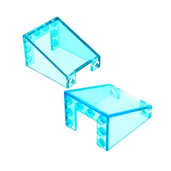 2 x Lego System Windschutzscheibe transparent hell blau 3x4x4 Auto Kran Star Wars Kanzel Cockpit Kuppel Fenster 4872