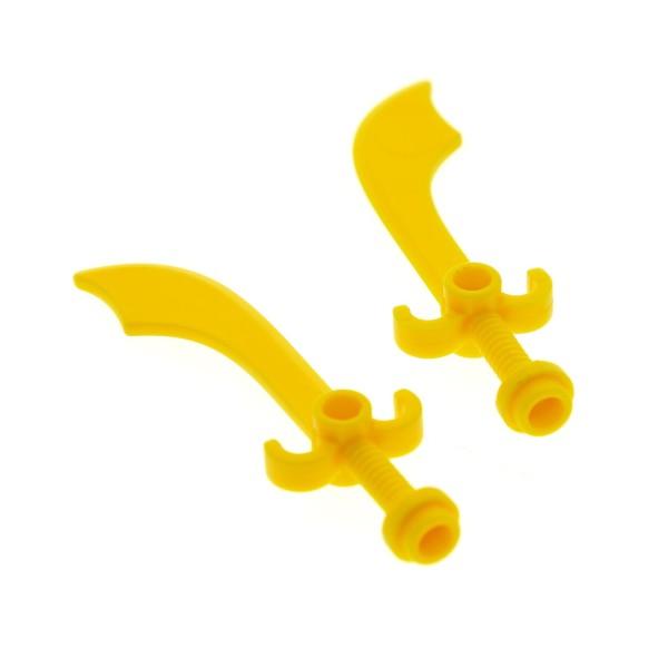 2 x Lego System Figuren Waffe Säbel gelb Schwert Krummschwert Zubehör Piraten Adventurers Orient Expedition 7418 7411 4179571 43887