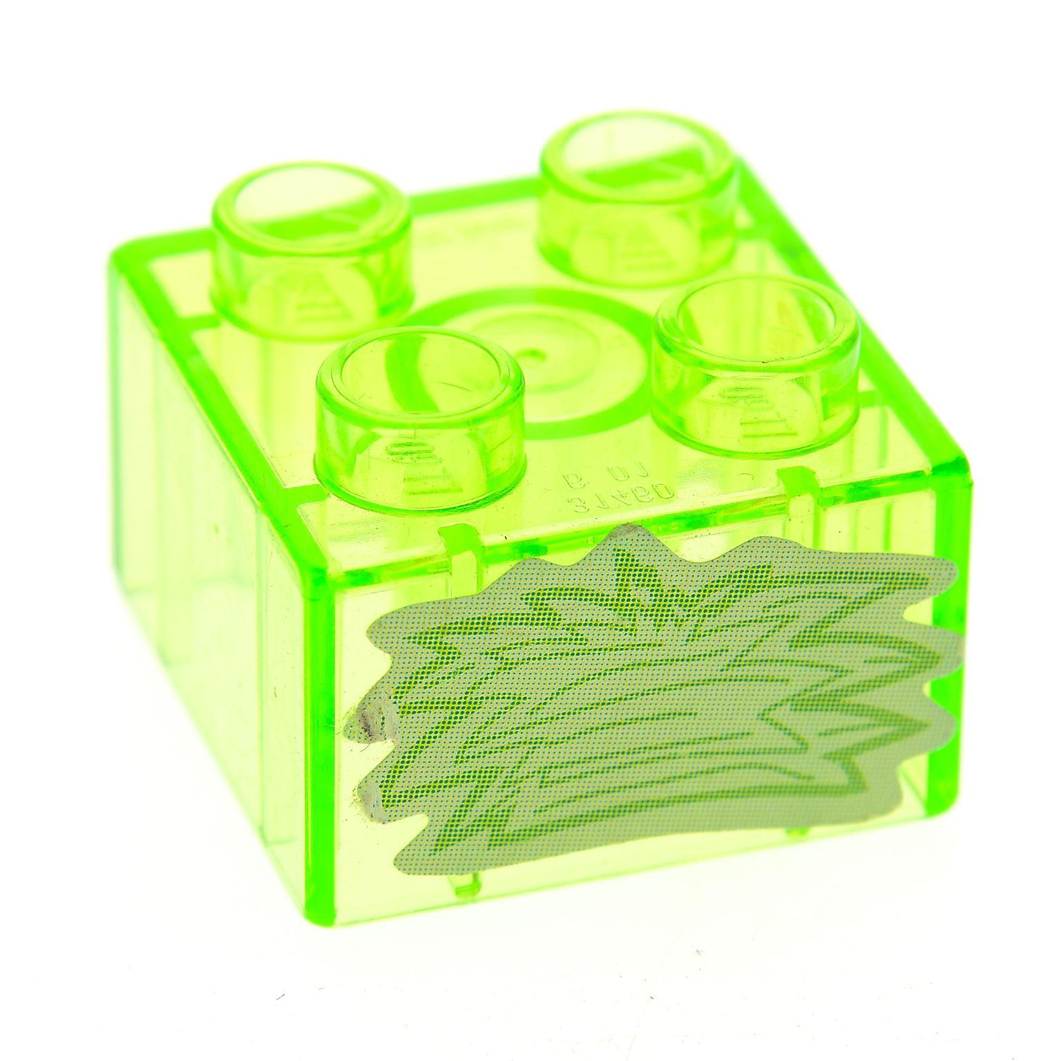 1 X Lego Duplo Bau Stein 2x2 Transparent Bright Hell Gr 252 N