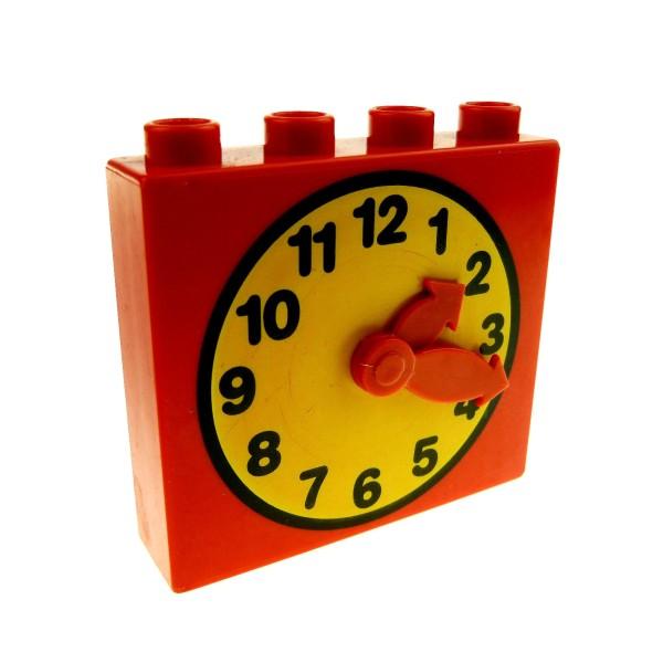 1 x Lego Duplo Möbel Uhr rot gelb orange 1x4x3 groß bewegliche Zeiger Puppenhaus Wohnzimmer 4145c01pb01
