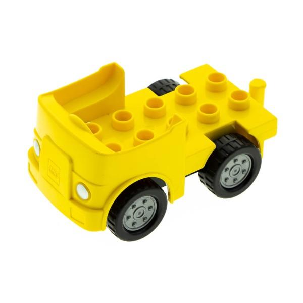 1x Lego Duplo Fahrzeug Auto gelb Räder schwarz flat silber 12591c01 95462pb02
