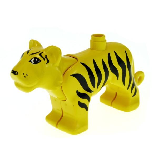 1 x Lego Duplo Tier Tiger B-Ware abgenutzt gelb groß Safari Zoo Zirkus groß Katze tigerc01pb01