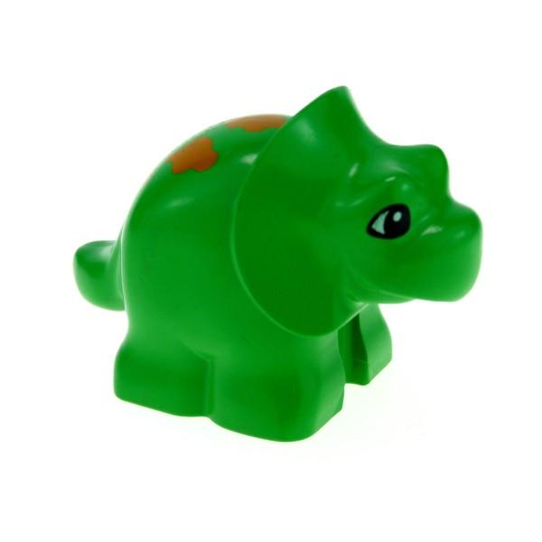 1 x Lego Duplo Tier Triceratops Baby Dino bright hell grün mit orange Muster auf dem Rücken Dinosaurier Steinzeit Dino Welt 31046pb01