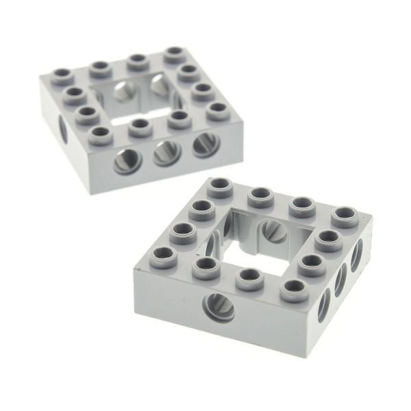 2 x Lego Technic Bau Rahmen Stein neu-hell grau 4x4 Lochstein Technik (Unterseite Punkt) Set 76035 75192 4768 76023 76042 75825 4211640 32324