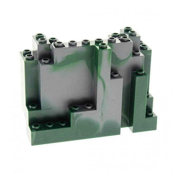 1 x Lego System Fels neu-dunkel grau 4x10x6 dunkel grün marmoriert Felsen Brocken Stein Berg Wand Ritter Burg Castle 7623 7094 7036 4507132 6082pb01