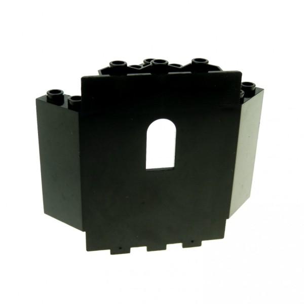 1 x Lego System Mauerteil schwarz 6x6x6 Panele Ecke schräg mit Fenster Mauer Wand Burg Castle 6055