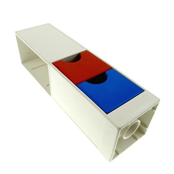 1 x Lego Duplo Möbel Regal weiss rot blau 2x2x6 Schrank Säule mit Schublade Wohnzimmer Büro Küche Puppenhaus 6471 6462