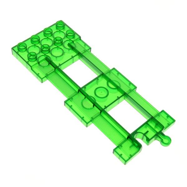 1 x Lego Duplo Schiene Endstück 2x4 transparent grün Eisenbahn Schienen Ende Autorennbahn Train Track End 3085 4143309 31442