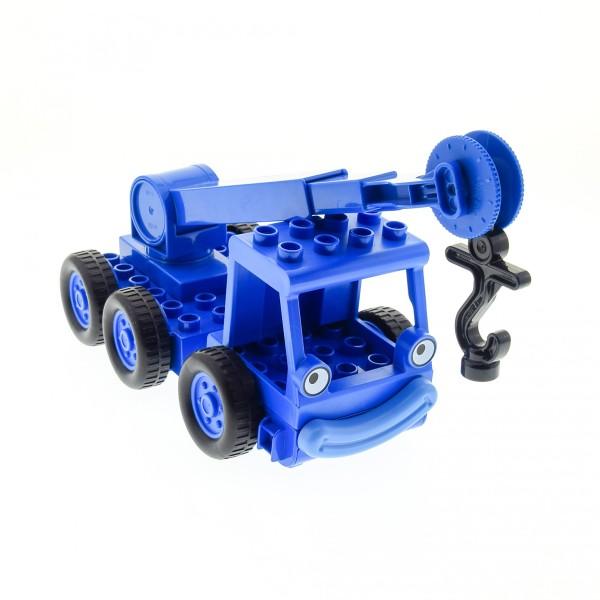1 x Lego Duplo Bau Fahrzeug Kran Heppo blau für Bob der Baumeister Figur Lofty Haken Arm blau Anker schwarz LKW Wagen 41168c02 dcranec02