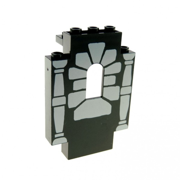 1 x Lego System Mauerteil schwarz 2x5x6 Panele bedruckt mit neu-hell grau Fenster Stütze Säule Mauer Wand Burg Castle Piraten 4444pb04
