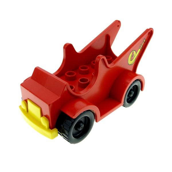 1x Lego Duplo Fahrzeug Feuerwehr rot gelb Schlauch Aufdruck 9976 2611 4251c01