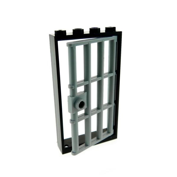 1 x Lego System Tür Rahmen schwarz 1x4x6 mit Gitter Gefängnis Verlies Tür 1x4x6 neu-hell grau 4535834 60621 60596