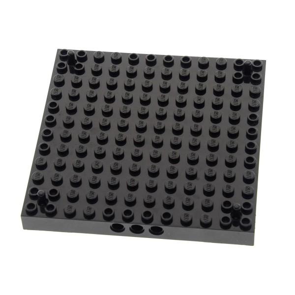 1 x Lego System Bau Platte 12x12 schwarz Noppen und Pin in jeder Ecke Ritter Burg Turm Set 7073 7074 4217004 47976c01