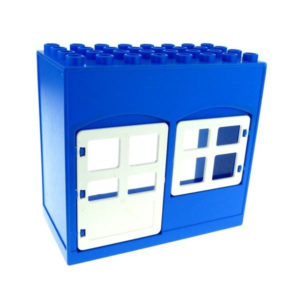 1 x Lego Duplo Gebäude Haus blau weiss 4x8x6 schmal Zimmer Tür Fenster Puppenhaus Polizei Wache 2206 2205 6431