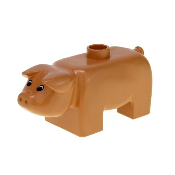 1 x Lego Duplo Tier Schwein Sau Eber flesh hautfarben Bauernhof Zoo Zirkus Augen schwarz weiß 4011type2pb01