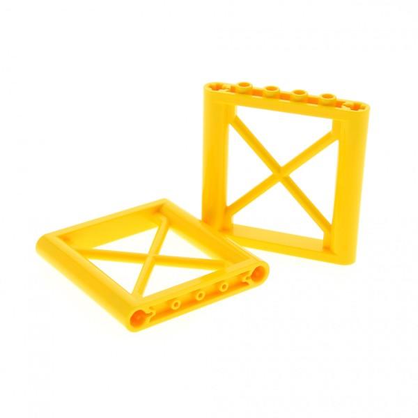 2 x Lego System Stütze gelb 1 x 6 x 5 Kran Pfeiler Gitter Element Ständer 64448