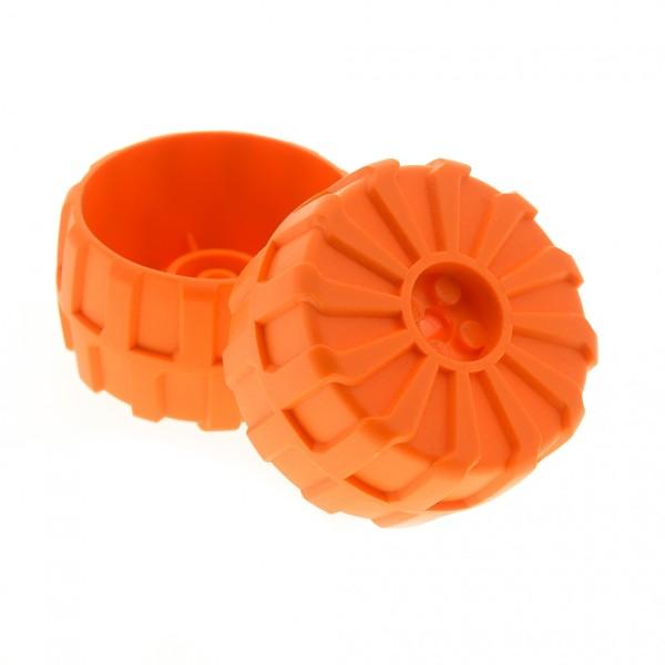 2 x Lego Technic Rad orange 54mm D. x 30mm hart Plastik Space Mars Mission Auto Fahrzeug für Set 7694 7697 2515