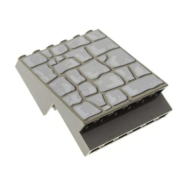 1 x Lego System Panele alt-dunkel grau 4 x 6 x 6 schräg Wand Mauer Stein abgewinkelt bedruckt Felsenmuster Set 6093 6089 30156px1