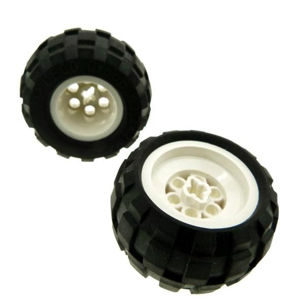 2 x Lego Technic Auto Fahrzeug Rad schwarz 43.2x28 S Räder Ballon Reifen weiß Technik Felge weiss 43.2x28 Achs Loch neue Form 6579 6580ac01