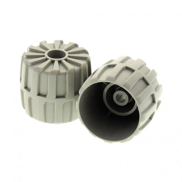 2 x Lego System Rad Räder alt-hell grau hart Plastik 35mm D. x 31mm  Mond Space Star Wars für Set 7171 2593